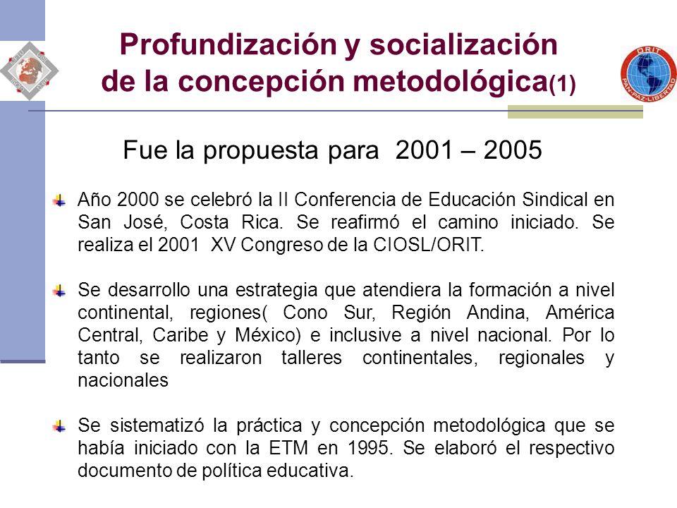 Profundización y socialización de la concepción metodológica (2) Fue la propuesta para el 2001 – 2005 Se fundamentó el enfoque integral de la formación ( sindical, profesional y formal) al ubicarla en una concepción de educación a lo largo de la vida.