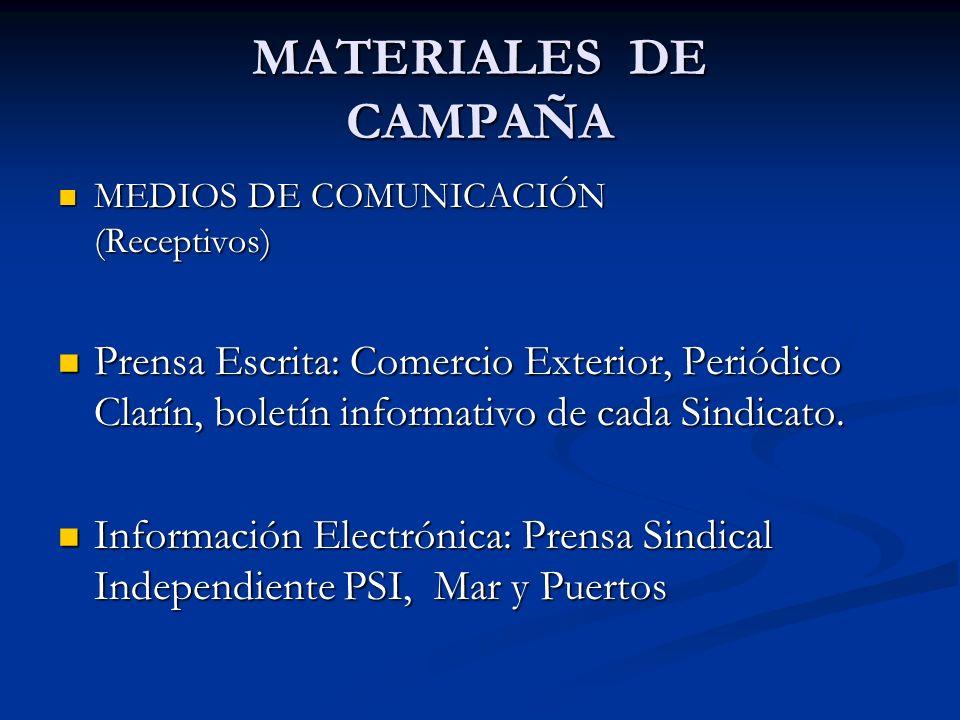 MATERIALES DE CAMPAÑA MEDIOS DE COMUNICACIÓN (Receptivos) MEDIOS DE COMUNICACIÓN (Receptivos) Prensa Escrita: Comercio Exterior, Periódico Clarín, bol