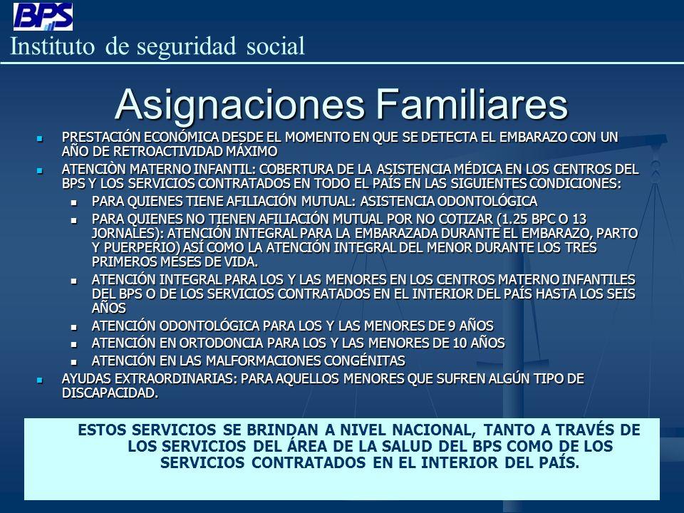 Instituto de seguridad social Asignaciones Familiares PRESTACIÓN ECONÓMICA DESDE EL MOMENTO EN QUE SE DETECTA EL EMBARAZO CON UN AÑO DE RETROACTIVIDAD