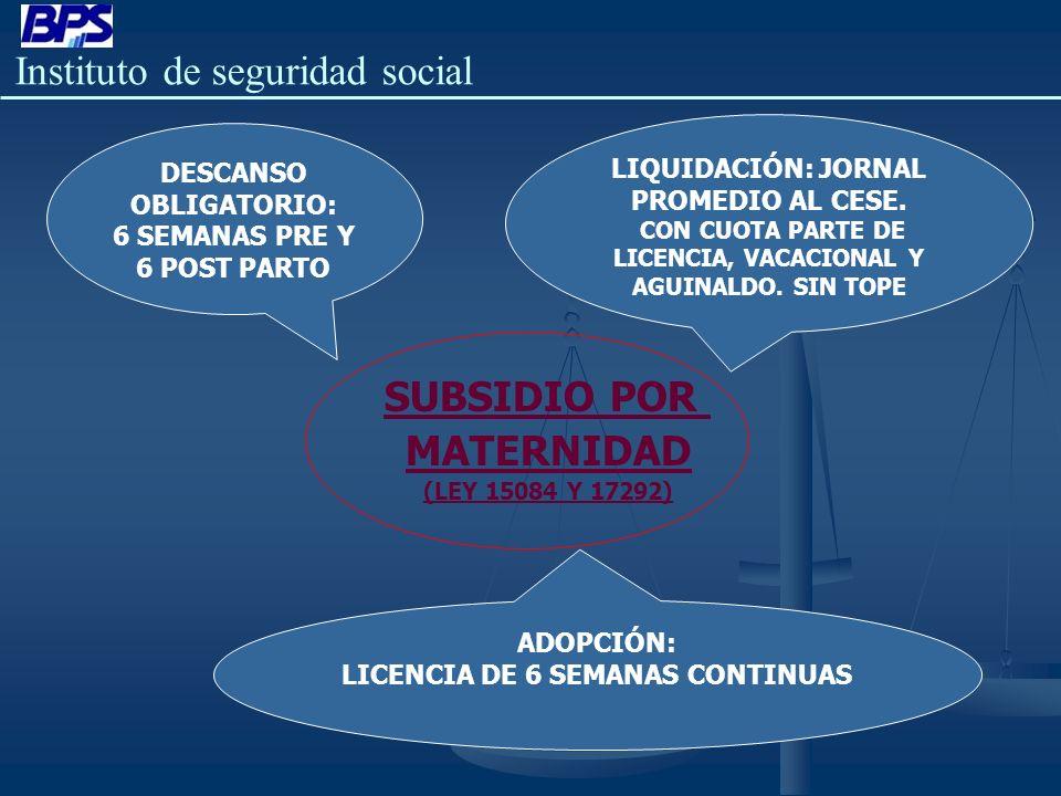 Instituto de seguridad social SUBSIDIO POR MATERNIDAD (LEY 15084 Y 17292) DESCANSO OBLIGATORIO: 6 SEMANAS PRE Y 6 POST PARTO LIQUIDACIÓN: JORNAL PROME