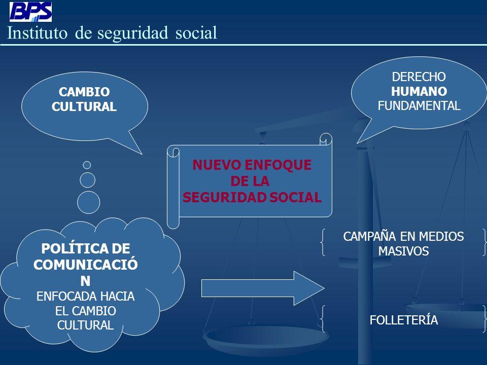 Instituto de seguridad social NUEVO ENFOQUE DE LA SEGURIDAD SOCIAL DERECHO HUMANO FUNDAMENTAL CAMBIO CULTURAL POLÍTICA DE COMUNICACIÓ N ENFOCADA HACIA