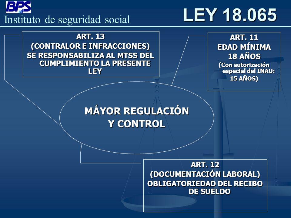 Instituto de seguridad social MÁYOR REGULACIÓN Y CONTROL ART. 11 EDAD MÍNIMA 18 AÑOS (Con autorización especial del INAU: 15 AÑOS) ART. 12 (DOCUMENTAC