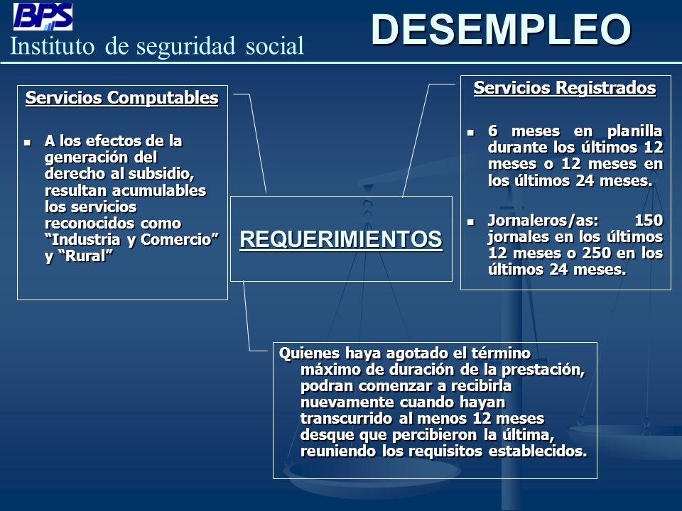Instituto de seguridad social REQUERIMIENTOSDESEMPLEO Servicios Registrados 6 meses en planilla durante los últimos 12 meses o 12 meses en los últimos