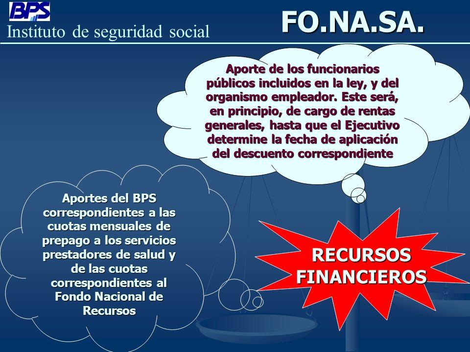 Instituto de seguridad socialFO.NA.SA.RECURSOSFINANCIEROS Aportes del BPS correspondientes a las cuotas mensuales de prepago a los servicios prestador