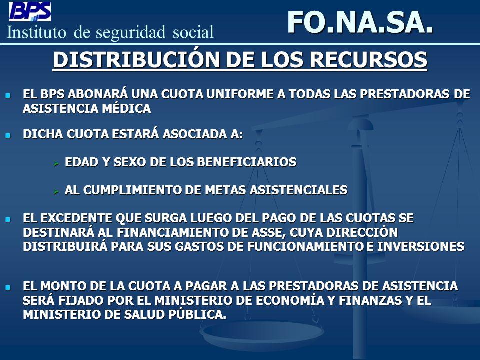 Instituto de seguridad socialFO.NA.SA. DISTRIBUCIÓN DE LOS RECURSOS EL EL BPS ABONARÁ UNA CUOTA UNIFORME A TODAS LAS PRESTADORAS DE ASISTENCIA MÉDICA