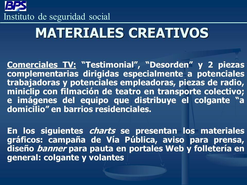 Instituto de seguridad social MATERIALES CREATIVOS Comerciales TV: Testimonial, Desorden y 2 piezas complementarias dirigidas especialmente a potencia