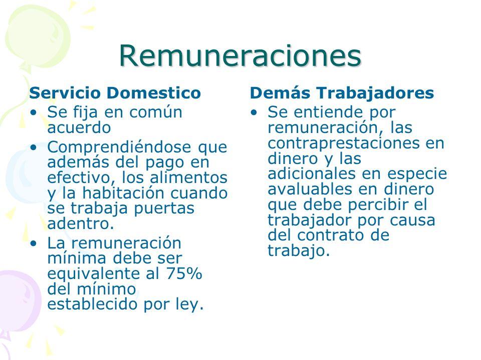 Remuneraciones Servicio Domestico Se fija en común acuerdo Comprendiéndose que además del pago en efectivo, los alimentos y la habitación cuando se tr