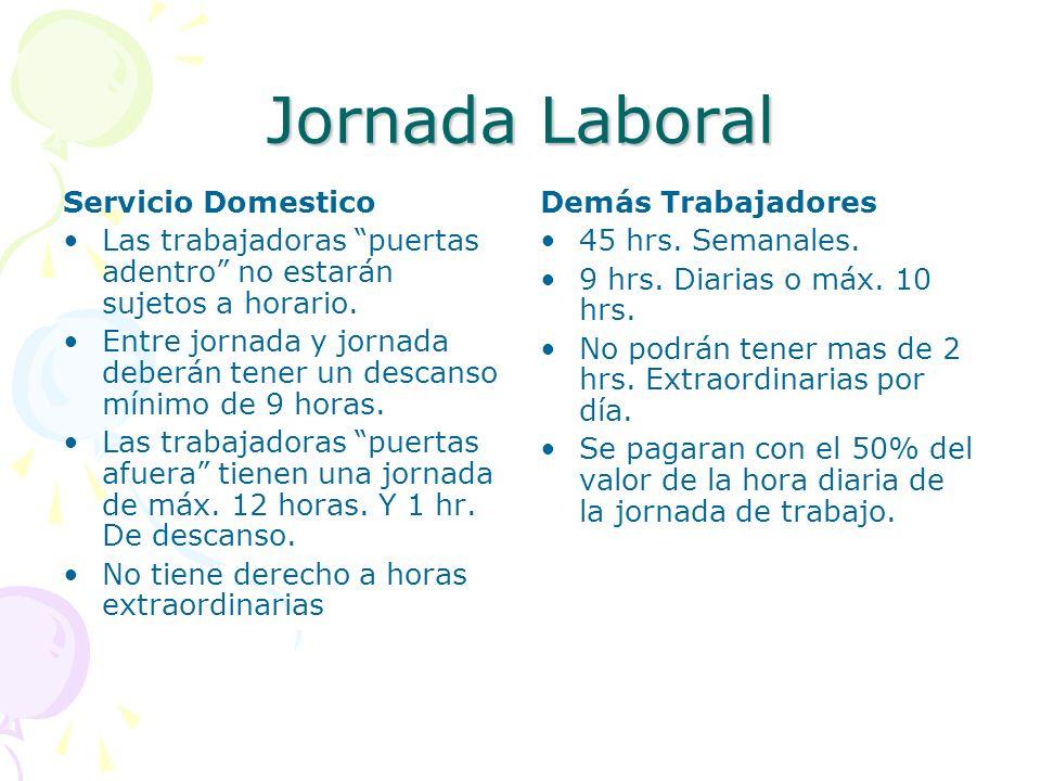 Jornada Laboral Servicio Domestico Las trabajadoras puertas adentro no estarán sujetos a horario. Entre jornada y jornada deberán tener un descanso mí
