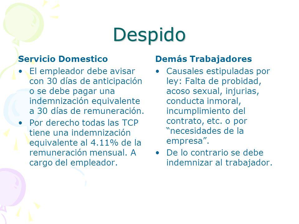 Despido Servicio Domestico El empleador debe avisar con 30 días de anticipación o se debe pagar una indemnización equivalente a 30 días de remuneració