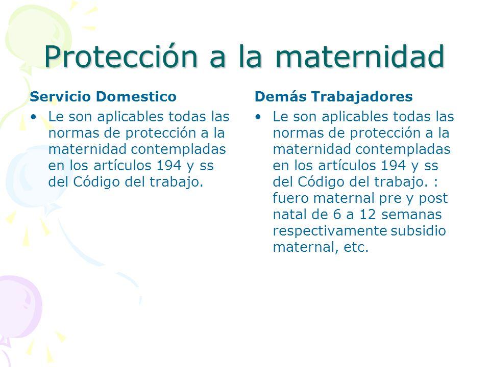 Protección a la maternidad Servicio Domestico Le son aplicables todas las normas de protección a la maternidad contempladas en los artículos 194 y ss