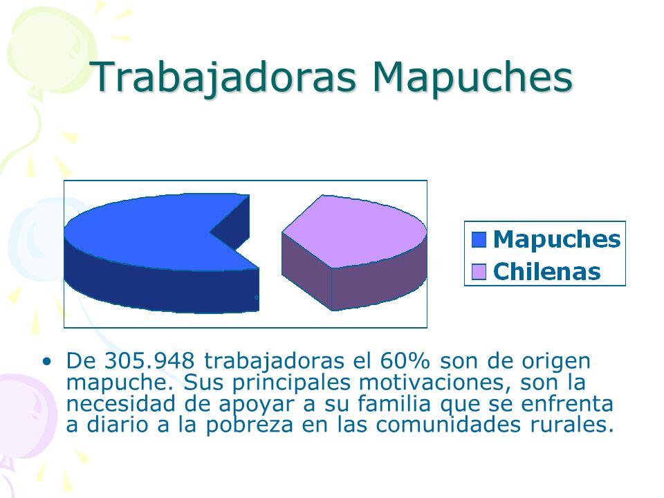 Trabajadoras Mapuches De 305.948 trabajadoras el 60% son de origen mapuche. Sus principales motivaciones, son la necesidad de apoyar a su familia que