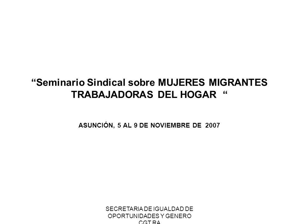 SECRETARIA DE IGUALDAD DE OPORTUNIDADES Y GENERO CGT RA 6.: Participación sindical en los organismos migratorios.