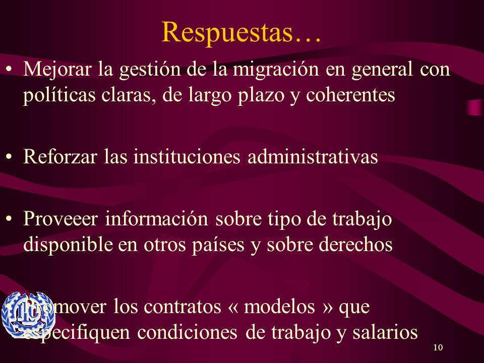 10 Respuestas… Mejorar la gestión de la migración en general con políticas claras, de largo plazo y coherentes Reforzar las instituciones administrati