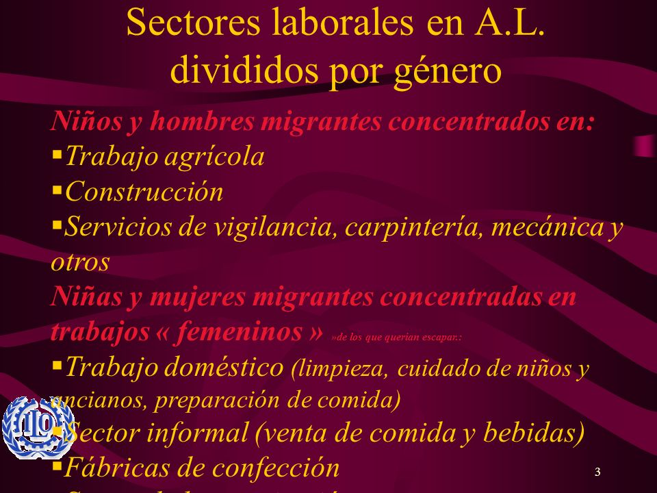 3 Sectores laborales en A.L. divididos por género Niños y hombres migrantes concentrados en: Trabajo agrícola Construcción Servicios de vigilancia, ca