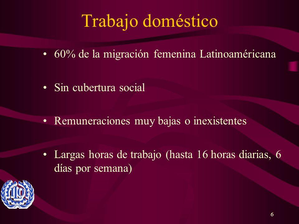 6 Trabajo doméstico 60% de la migración femenina Latinoaméricana Sin cubertura social Remuneraciones muy bajas o inexistentes Largas horas de trabajo