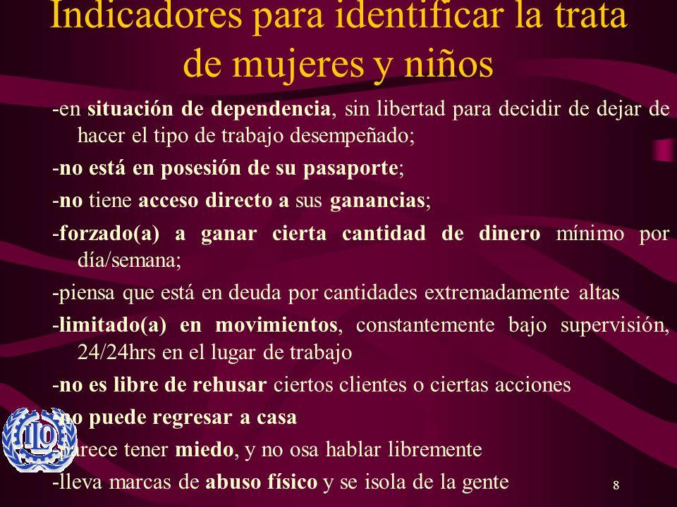 8 Indicadores para identificar la trata de mujeres y niños -en situación de dependencia, sin libertad para decidir de dejar de hacer el tipo de trabaj