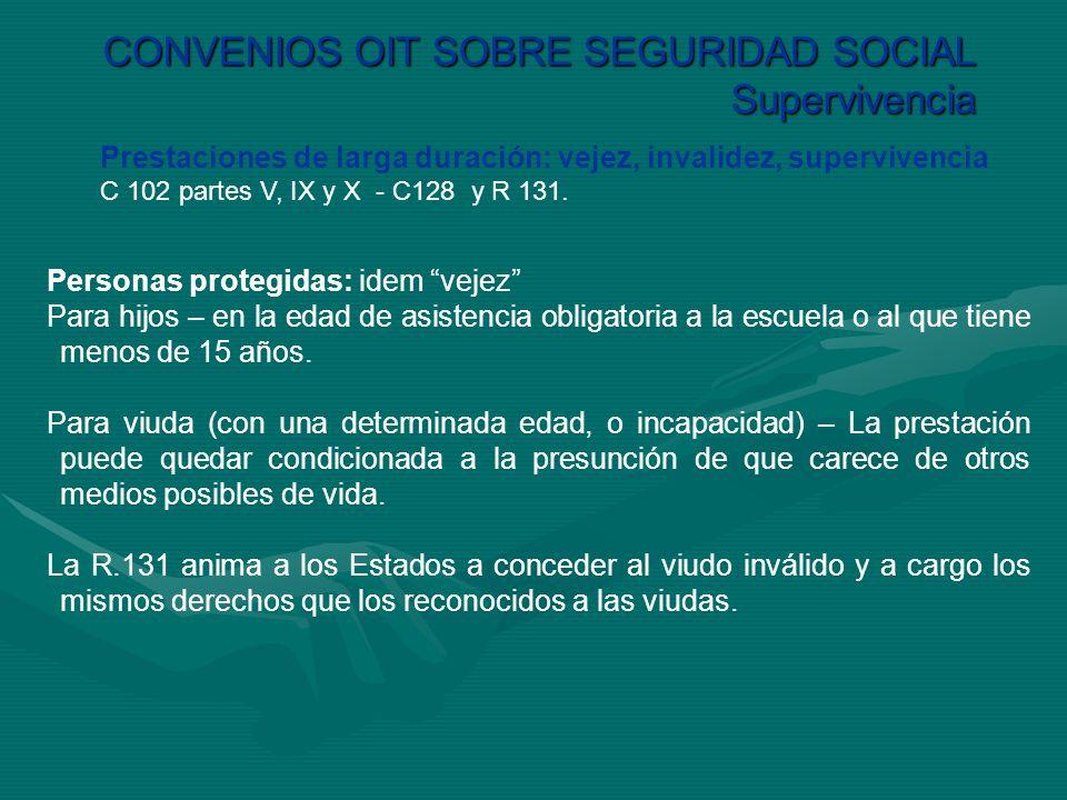 CONVENIOS OIT SOBRE SEGURIDAD SOCIAL Supervivencia Prestaciones de larga duración: vejez, invalidez, supervivencia C 102 partes V, IX y X - C128 y R 1