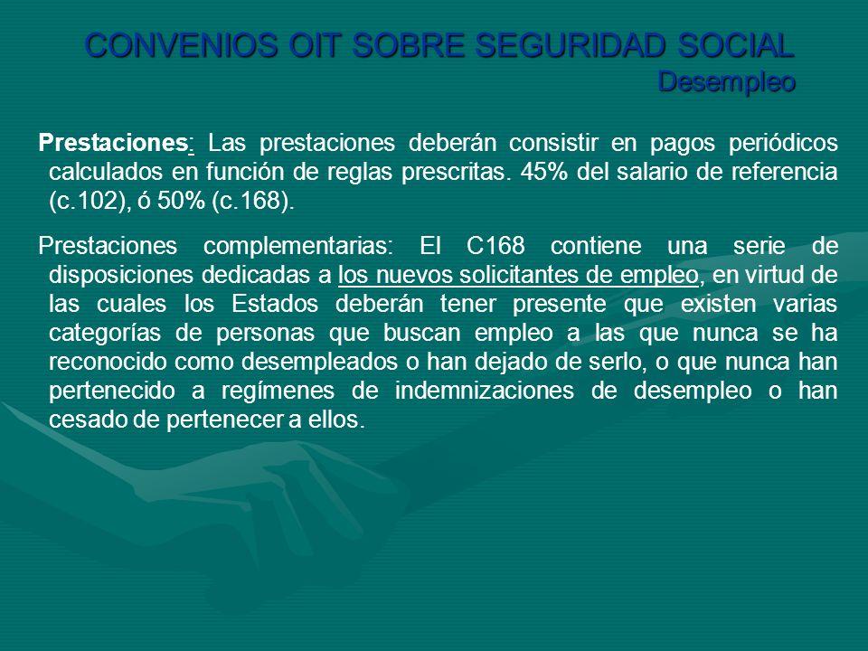 CONVENIOS OIT SOBRE SEGURIDAD SOCIAL Desempleo Prestaciones: Las prestaciones deberán consistir en pagos periódicos calculados en función de reglas pr