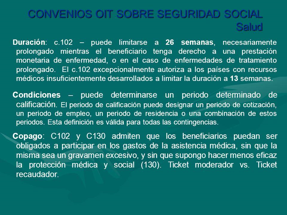 CONVENIOS OIT SOBRE SEGURIDAD SOCIAL Salud Duración: c.102 – puede limitarse a 26 semanas, necesariamente prolongado mientras el beneficiario tenga de