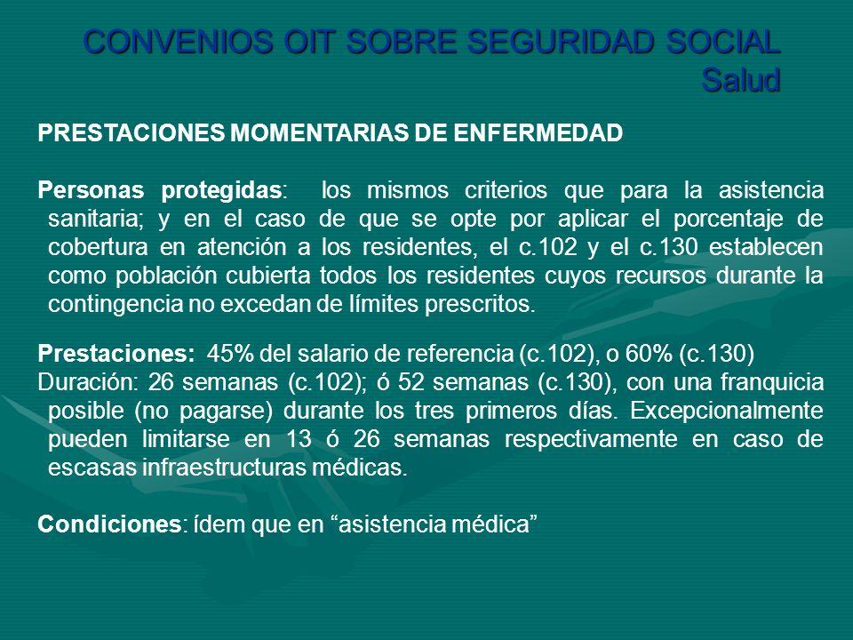 CONVENIOS OIT SOBRE SEGURIDAD SOCIAL Salud PRESTACIONES MOMENTARIAS DE ENFERMEDAD Personas protegidas: los mismos criterios que para la asistencia san