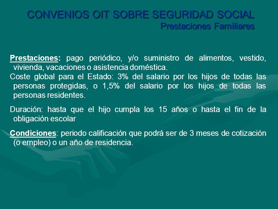 CONVENIOS OIT SOBRE SEGURIDAD SOCIAL Prestaciones Familiares Prestaciones: pago periódico, y/o suministro de alimentos, vestido, vivienda, vacaciones