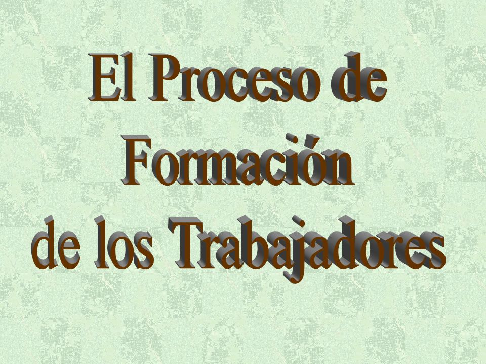 LA FORMACION: TAREA IRRENUNCIABLE E INTRANSFERIBLE DEL MOVIMIENTO DE LOS TRABAJADORES El Proceso de Formación de los Trabajadores es ante todo una función propia e intransferible del Movimiento de los Trabajadores.