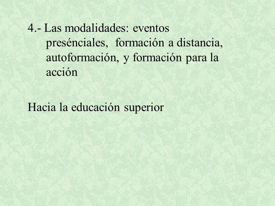 4.- Las modalidades: eventos presénciales, formación a distancia, autoformación, y formación para la acción Hacia la educación superior