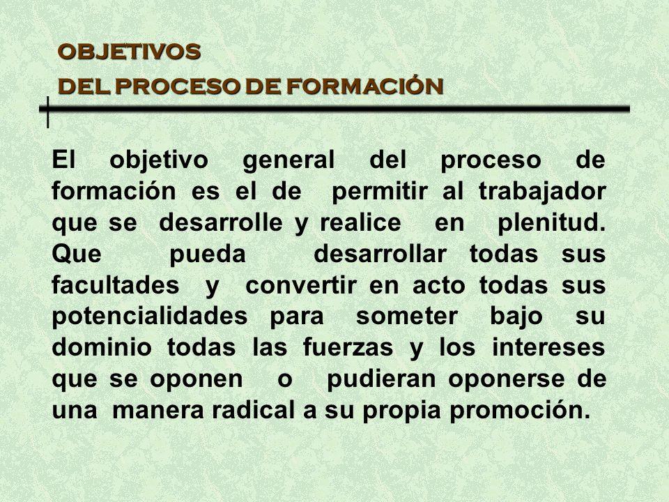 OBJETIVOS DEL PROCESO DE FORMACIÓN El objetivo general del proceso de formación es el de permitir al trabajador que se desarrolle y realice en plenitud.