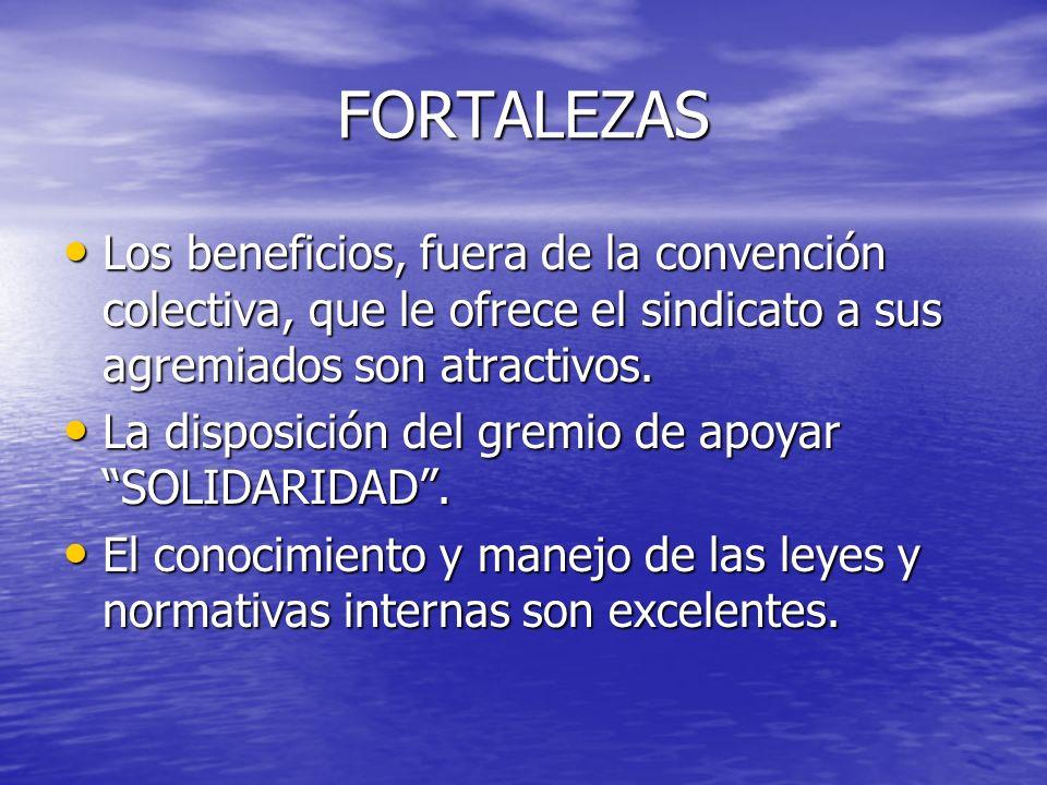 FORTALEZAS Nuestro compromiso de fortalecer nuestras estructuras y la de los sindicatos marítimos nacionales mediante nuestro trabajo con la ITF, OIT, MEBA internacional y aun mas importante con los sindicatos latinoamericanos, todo esto por una verdadera unión latina.