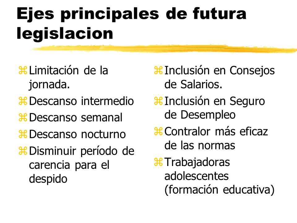 Ejes principales de futura legislacion zLimitación de la jornada.