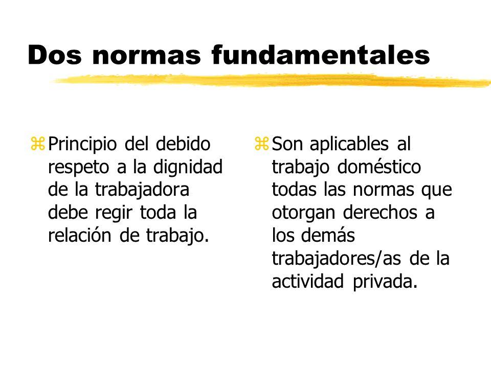 Dos normas fundamentales zPrincipio del debido respeto a la dignidad de la trabajadora debe regir toda la relación de trabajo.