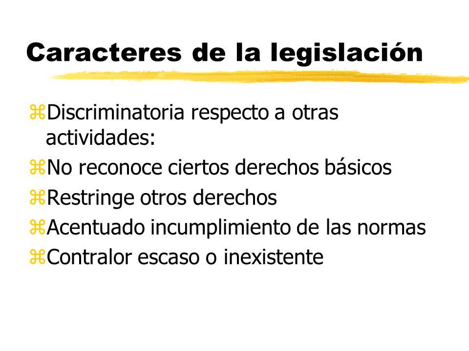 Caracteres de la legislación zDiscriminatoria respecto a otras actividades: zNo reconoce ciertos derechos básicos zRestringe otros derechos zAcentuado incumplimiento de las normas zContralor escaso o inexistente