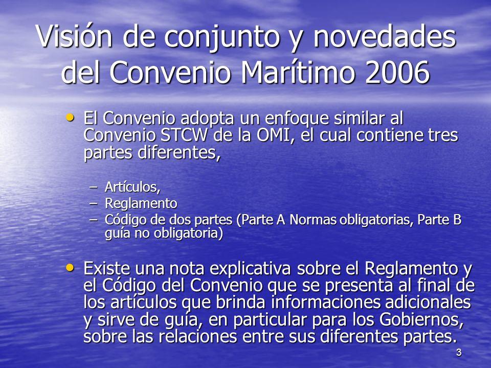 14 Visión de conjunto & novedades del Convenio Marítimo 2006 – Formato & Contenido Continuación Continuación –Implementación de parte A del Código (fuera del Título 5) puede ser lograda a través de medidas que equivalentes en la sustancia.