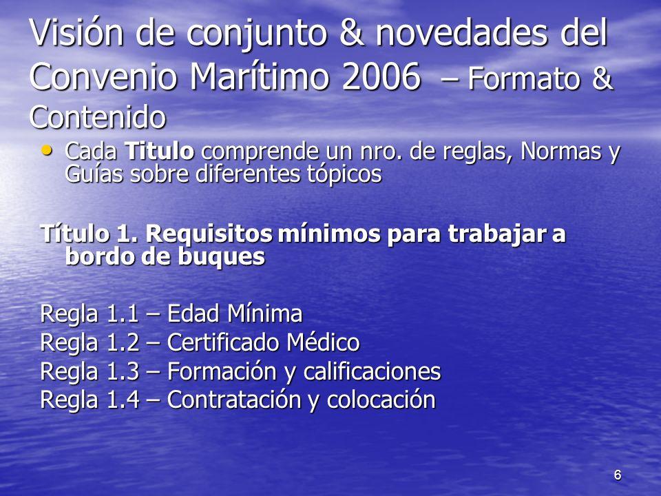 7 Visión de conjunto y novedades del Convenio Marítimo 2006 Formato & Contenido Título 2 Condiciones de empleo Regla 2.1 - Acuerdos para el empleo de la gente de mar Regla 2.2 - Salarios Regla 2.3 - Horas de trabajo y descanso Regla 2.4 - Derecho a vacaciones Regla 2.5 - Repatriación Regla 2.6 - Indemnización de la gente de mar en caso de pérdida del buque o de naufragio Regla 2.7 - Niveles de dotación Regla 2.8 - Progresión profesional y desarrollo de las aptitudes y oportunidades de empleo de la gente de mar