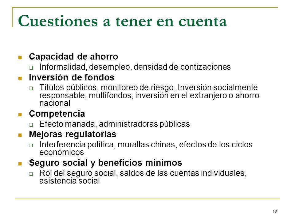 18 Cuestiones a tener en cuenta Capacidad de ahorro Informalidad, desempleo, densidad de contizaciones Inversión de fondos Títulos públicos, monitoreo