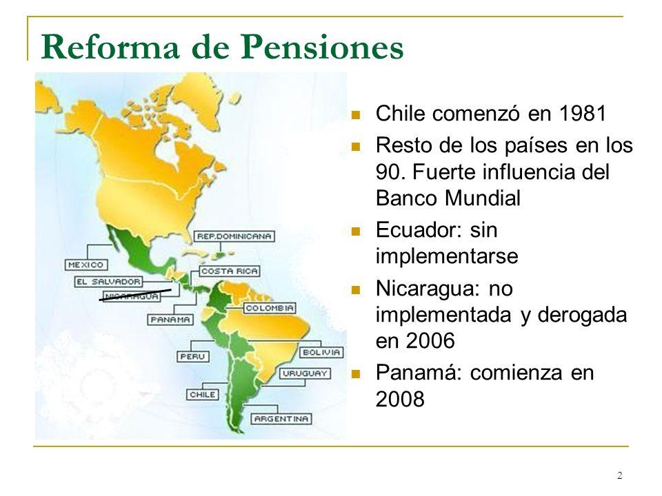 2 Reforma de Pensiones Chile comenzó en 1981 Resto de los países en los 90. Fuerte influencia del Banco Mundial Ecuador: sin implementarse Nicaragua: