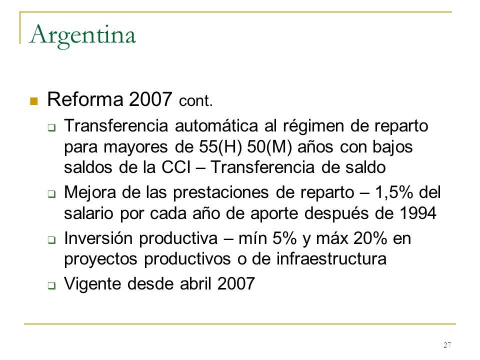27 Argentina Reforma 2007 cont. Transferencia automática al régimen de reparto para mayores de 55(H) 50(M) años con bajos saldos de la CCI – Transfere