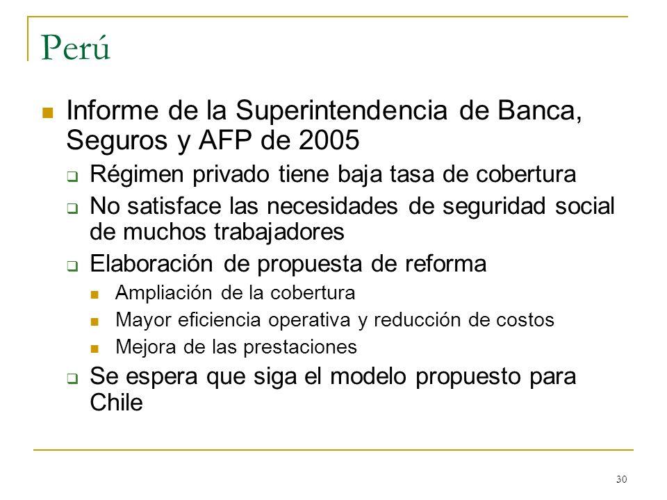 30 Perú Informe de la Superintendencia de Banca, Seguros y AFP de 2005 Régimen privado tiene baja tasa de cobertura No satisface las necesidades de se