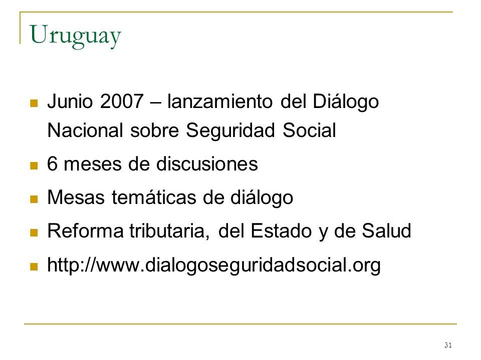31 Uruguay Junio 2007 – lanzamiento del Diálogo Nacional sobre Seguridad Social 6 meses de discusiones Mesas temáticas de diálogo Reforma tributaria,