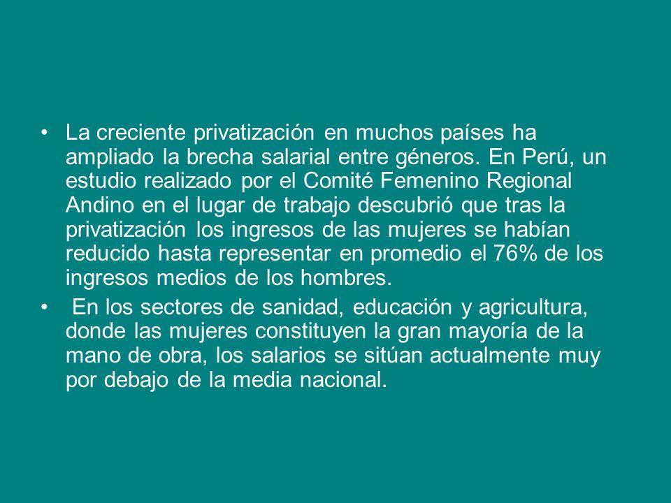 La creciente privatización en muchos países ha ampliado la brecha salarial entre géneros. En Perú, un estudio realizado por el Comité Femenino Regiona