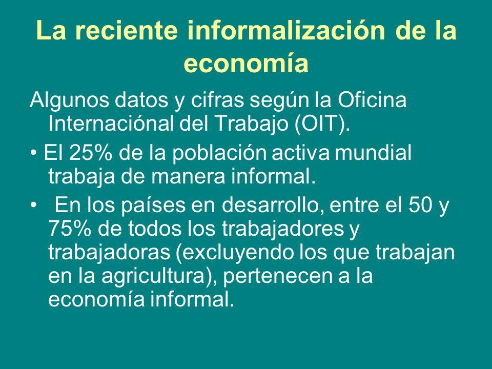 La reciente informalización de la economía Algunos datos y cifras según la Oficina Internaciónal del Trabajo (OIT). El 25% de la población activa mund