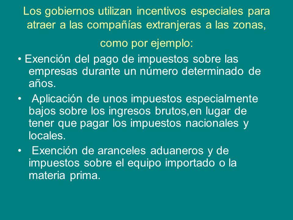 Los gobiernos utilizan incentivos especiales para atraer a las compañías extranjeras a las zonas, como por ejemplo: Exención del pago de impuestos sob