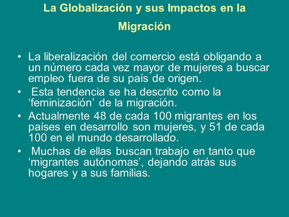 La Globalización y sus Impactos en la Migración La liberalización del comercio está obligando a un número cada vez mayor de mujeres a buscar empleo fu