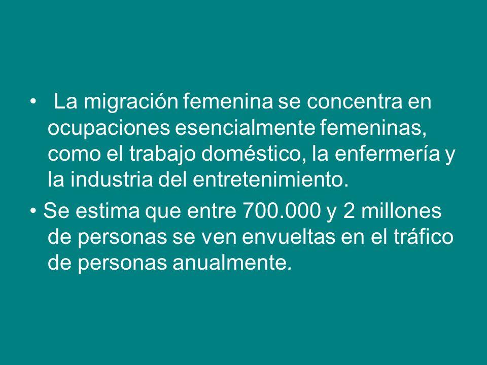 La migración femenina se concentra en ocupaciones esencialmente femeninas, como el trabajo doméstico, la enfermería y la industria del entretenimiento