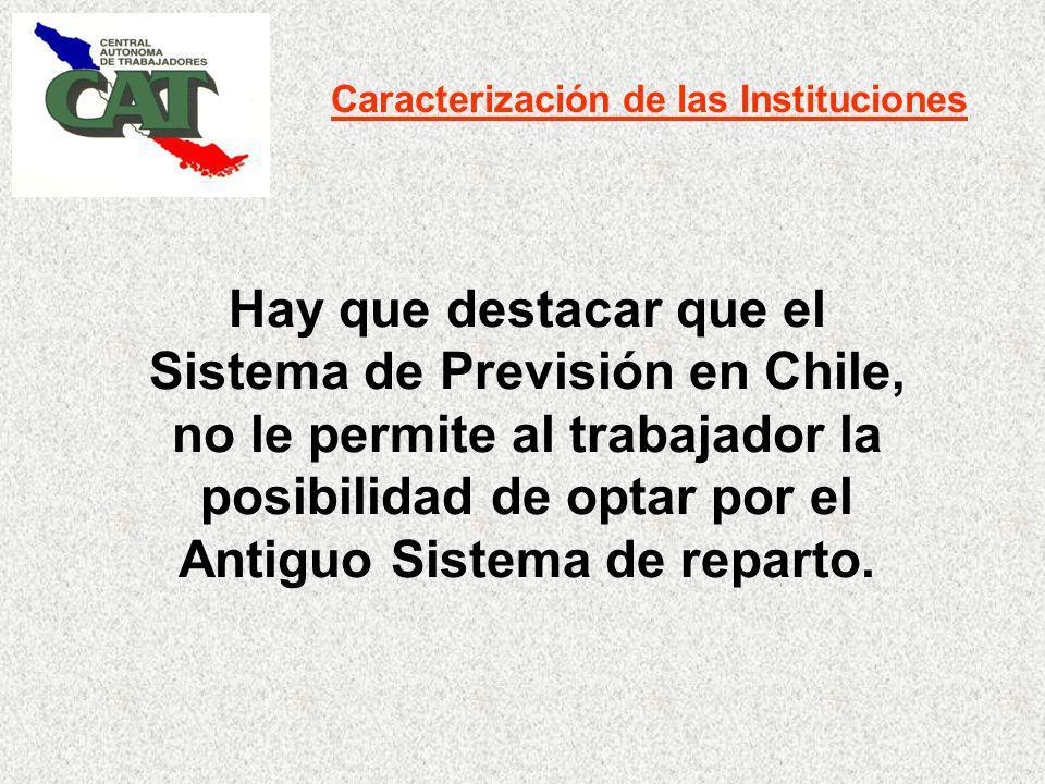 Caracterización de las Instituciones Hay que destacar que el Sistema de Previsión en Chile, no le permite al trabajador la posibilidad de optar por el Antiguo Sistema de reparto.