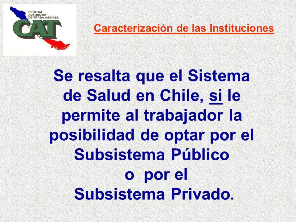 Caracterización de las Instituciones Se resalta que el Sistema de Salud en Chile, si le permite al trabajador la posibilidad de optar por el Subsistema Público o por el Subsistema Privado.