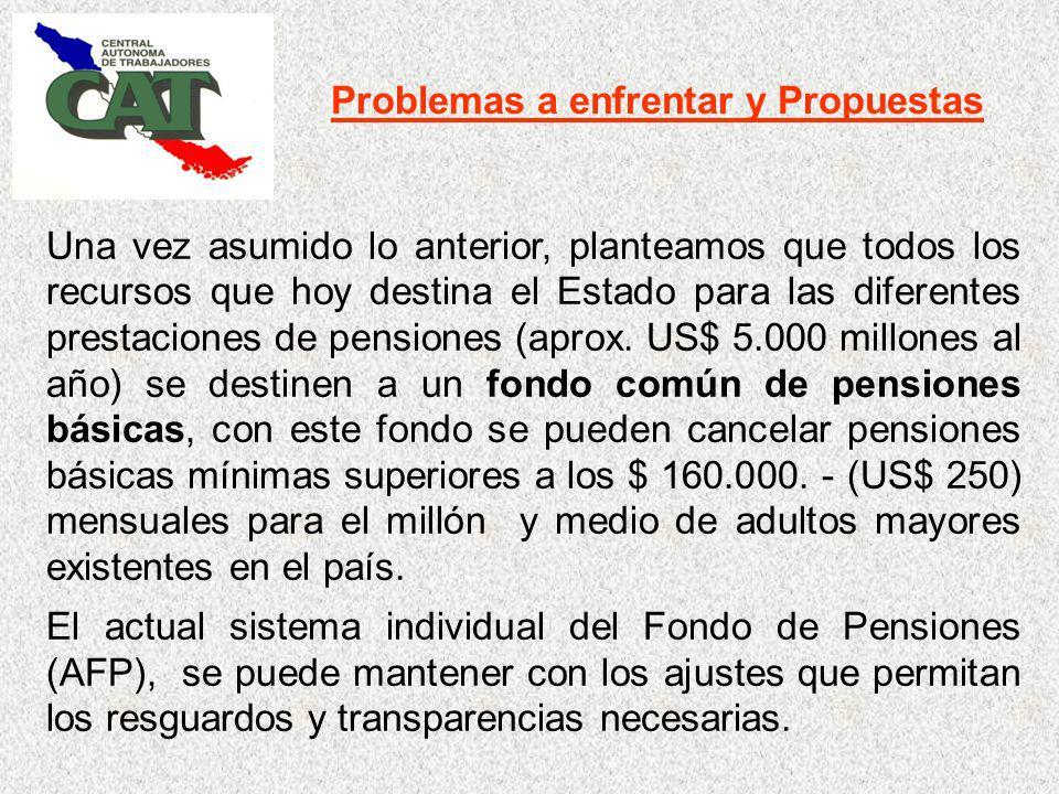 Problemas a enfrentar y Propuestas Una vez asumido lo anterior, planteamos que todos los recursos que hoy destina el Estado para las diferentes prestaciones de pensiones (aprox.