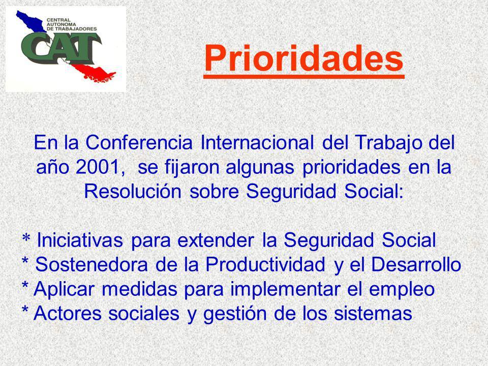 Prioridades En la Conferencia Internacional del Trabajo del año 2001, se fijaron algunas prioridades en la Resolución sobre Seguridad Social: * Iniciativas para extender la Seguridad Social * Sostenedora de la Productividad y el Desarrollo * Aplicar medidas para implementar el empleo * Actores sociales y gestión de los sistemas