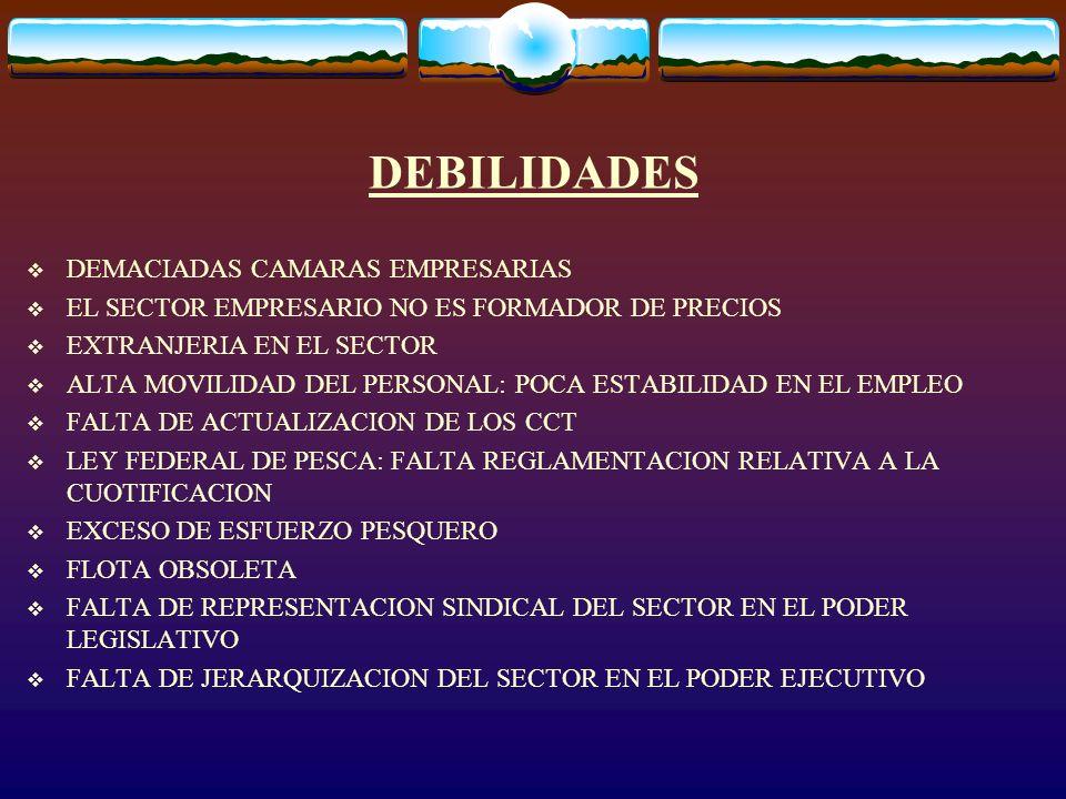 DEBILIDADES DEMACIADAS CAMARAS EMPRESARIAS EL SECTOR EMPRESARIO NO ES FORMADOR DE PRECIOS EXTRANJERIA EN EL SECTOR ALTA MOVILIDAD DEL PERSONAL: POCA E