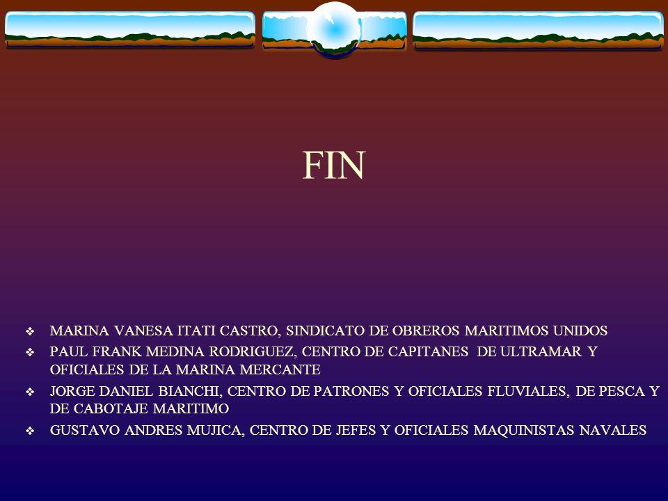FIN MARINA VANESA ITATI CASTRO, SINDICATO DE OBREROS MARITIMOS UNIDOS PAUL FRANK MEDINA RODRIGUEZ, CENTRO DE CAPITANES DE ULTRAMAR Y OFICIALES DE LA M